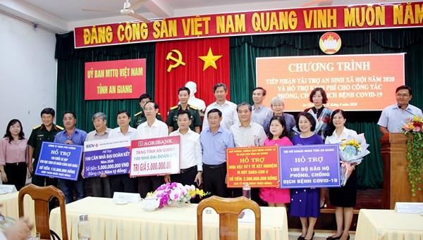 Ủy ban MTTQVN tỉnh An Giang tiếp nhận hơn 12,6 tỷ đồng tài trợ an sinh xã hội năm 2020 và hỗ trợ phòng, chống COVID-19