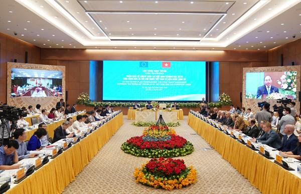 """Hội nghị trực tuyến """"Triển khai kế hoạch thực thi EVFTA"""""""