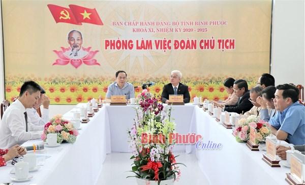 Chủ tịch Ủy ban Trung ương MTTQ Việt Nam Trần Thanh Mẫn làm việc với Ban Thường vụ Tỉnh ủy Bình Phước