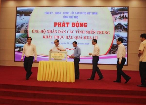 Phú Thọ phát động ủng hộ nhân dân các tỉnh miền Trung