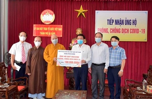 Giáo hội Phật giáo thành phố Đà Nẵng ủng hộ Quỹ vaccine phòng Covid-19
