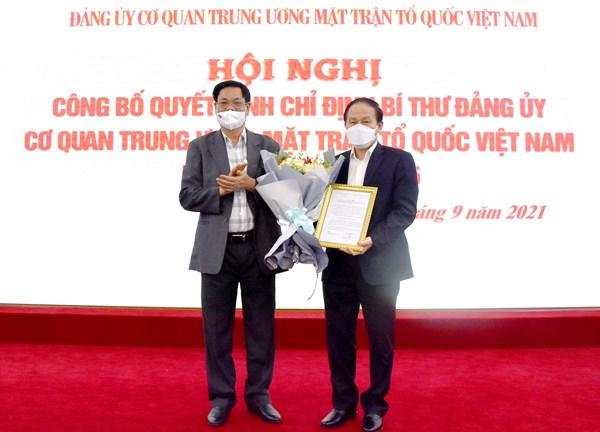 Ông Lê Tiến Châu được chỉ định giữ chức Bí thư Đảng ủy Cơ quan Trung ương MTTQ Việt Nam