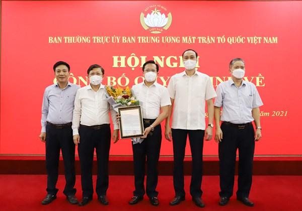 UBTƯ MTTQ Việt Nam triển khai quyết định về công tác cán bộ