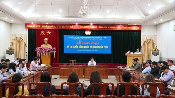 Ủy ban Trung ương MTTQ Việt Nam thi tuyển công chức, viên chức năm 2018