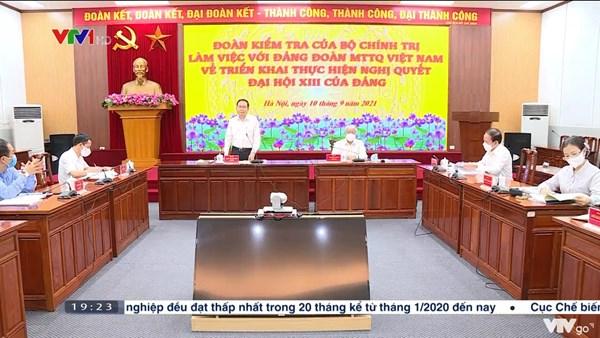 Đảng đoàn Mặt trận Tổ quốc Việt Nam tiếp tục đổi mới nội dung hoạt động